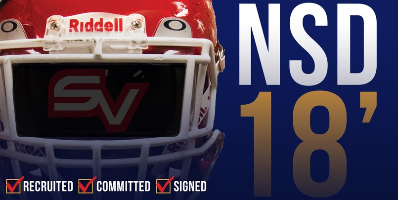 Graphic for national signing day with football helmet and text NSD '18.