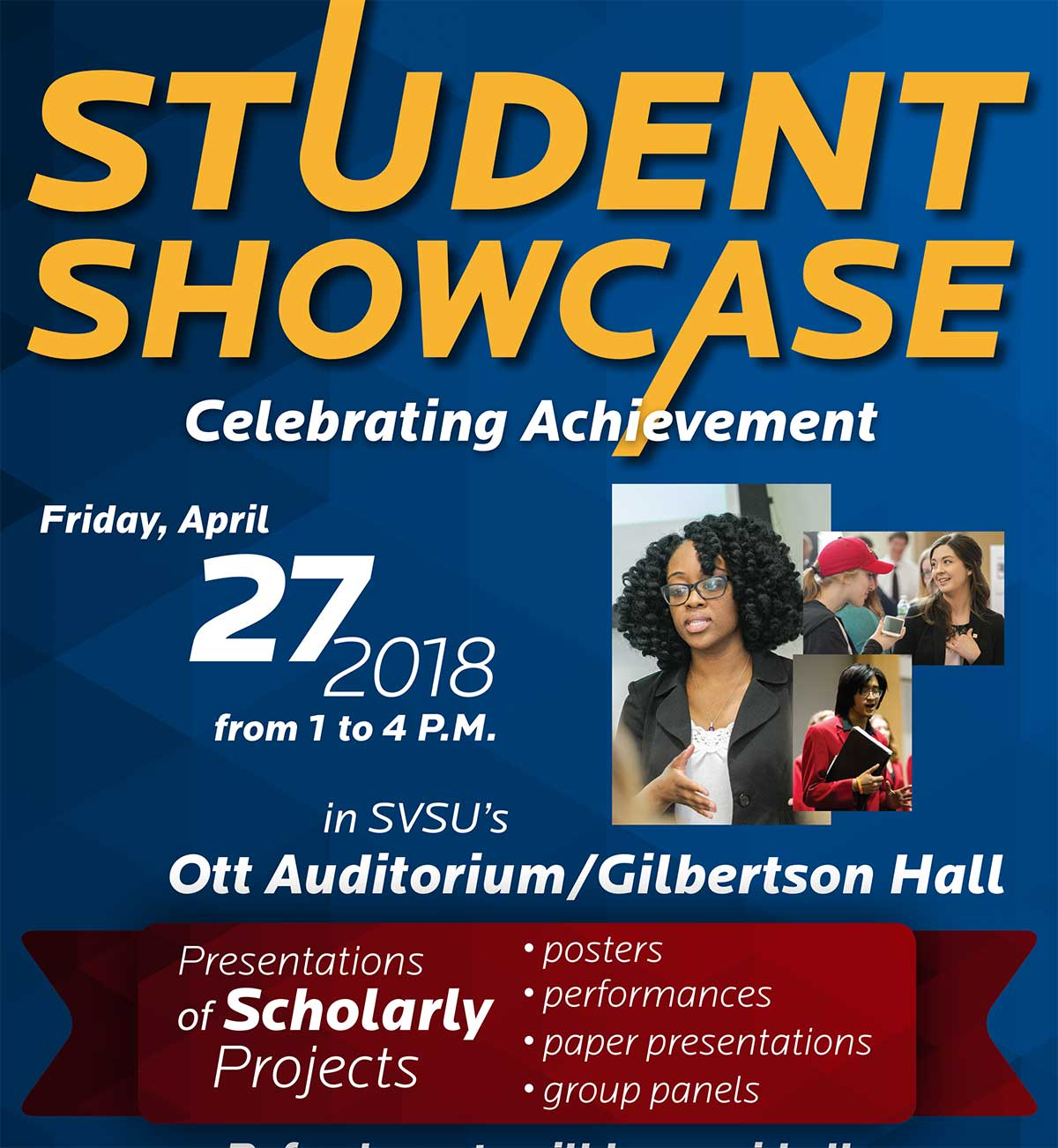 Student Showcase Poster celebrating student achievement.