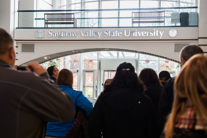 Saginaw Valley State University sign in Curtis Hall