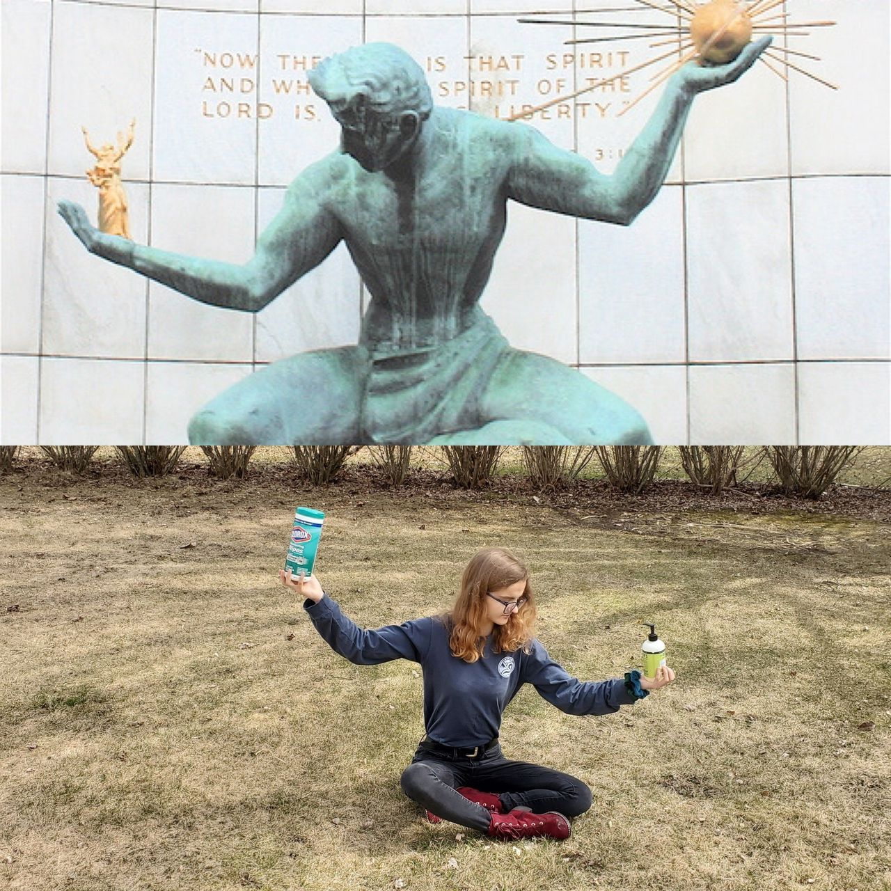 Student poses like Fredericks sculpture for museum selfie contest