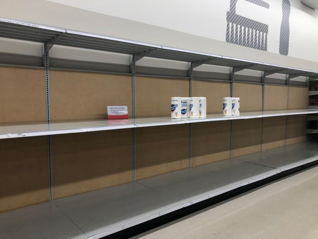 Picture of empty cleaning supply shelf