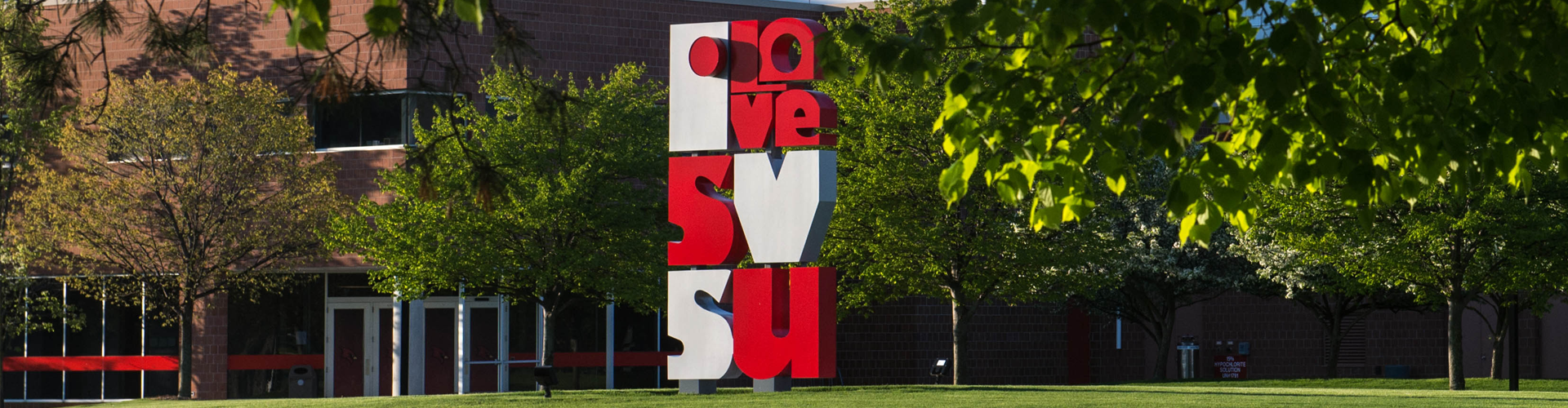 Image of the Love SVSU sculpture on campus