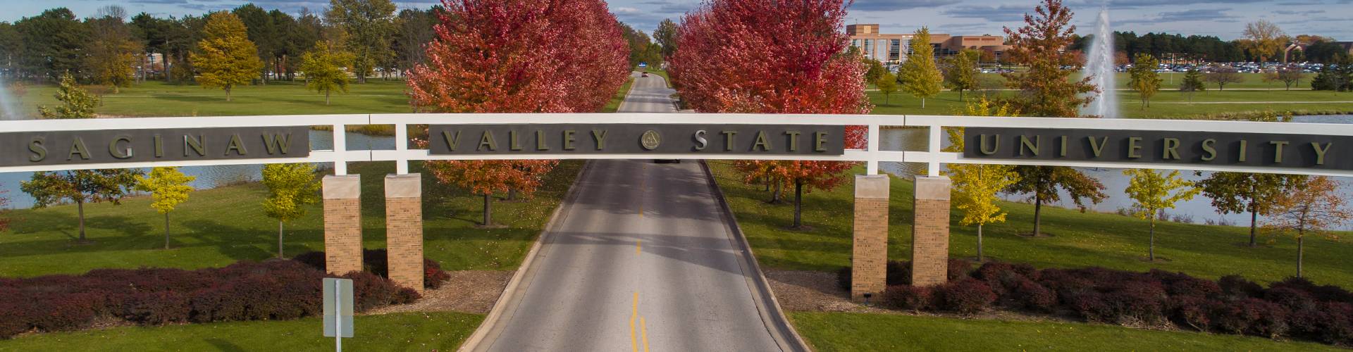 SVSU entrance gate in the fall