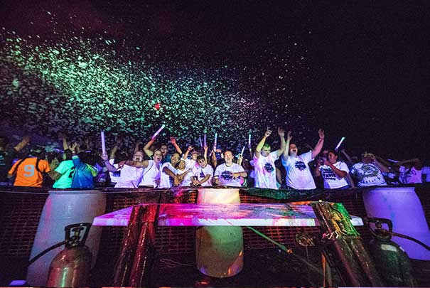 students at concert/glow party