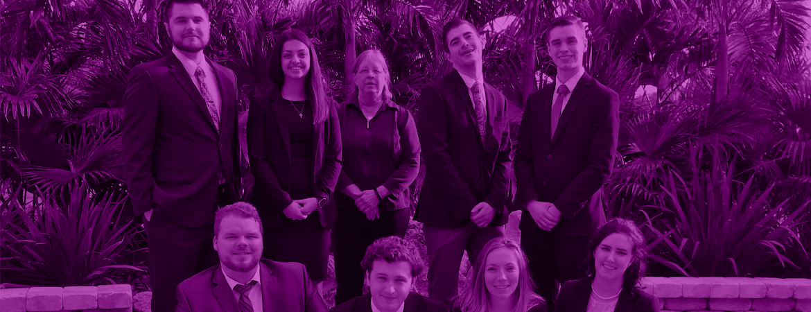 Moot-court students group outside with faculty image with a purple overlay