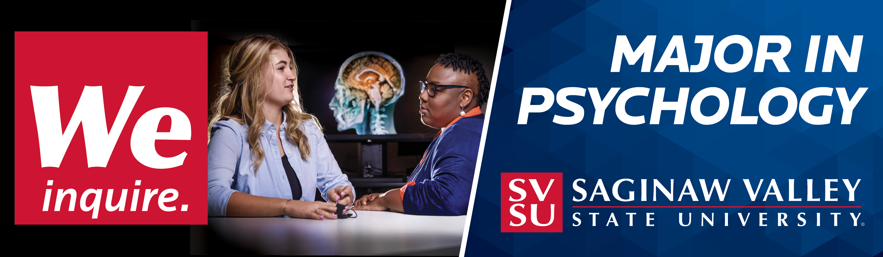 Banner graphic featuring red square block with We Inquire in white letters to left and featuring image of faculty member and student with image of brain in the background.