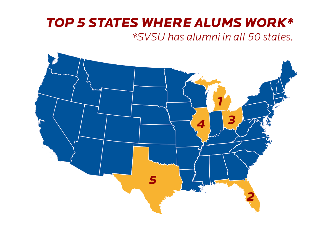 A visual representation of the states where there are the most SVSU alumni.