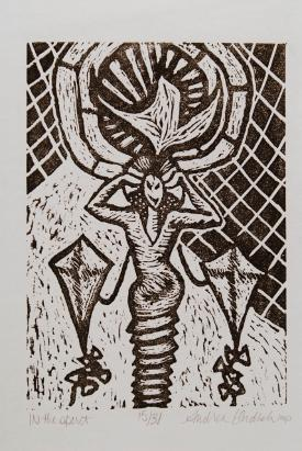Andrea Ondish, In The Spirit, linocut on rice paper
