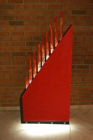 "Alumni Exhibit 2013 - 3d work: John Fetter, BA 1975, ""Orgo Syn 2-Red Ascending"" 2013"