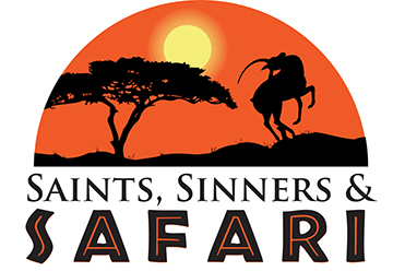 Logo of the Saints, Sinners and Safari event by Marshall Fredericks Sculpture Museum. Features a sunset with the Leaping Gazelle in profile.