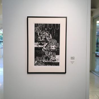 photo of a relief print done by student shannon hardy and awarded juror's choice