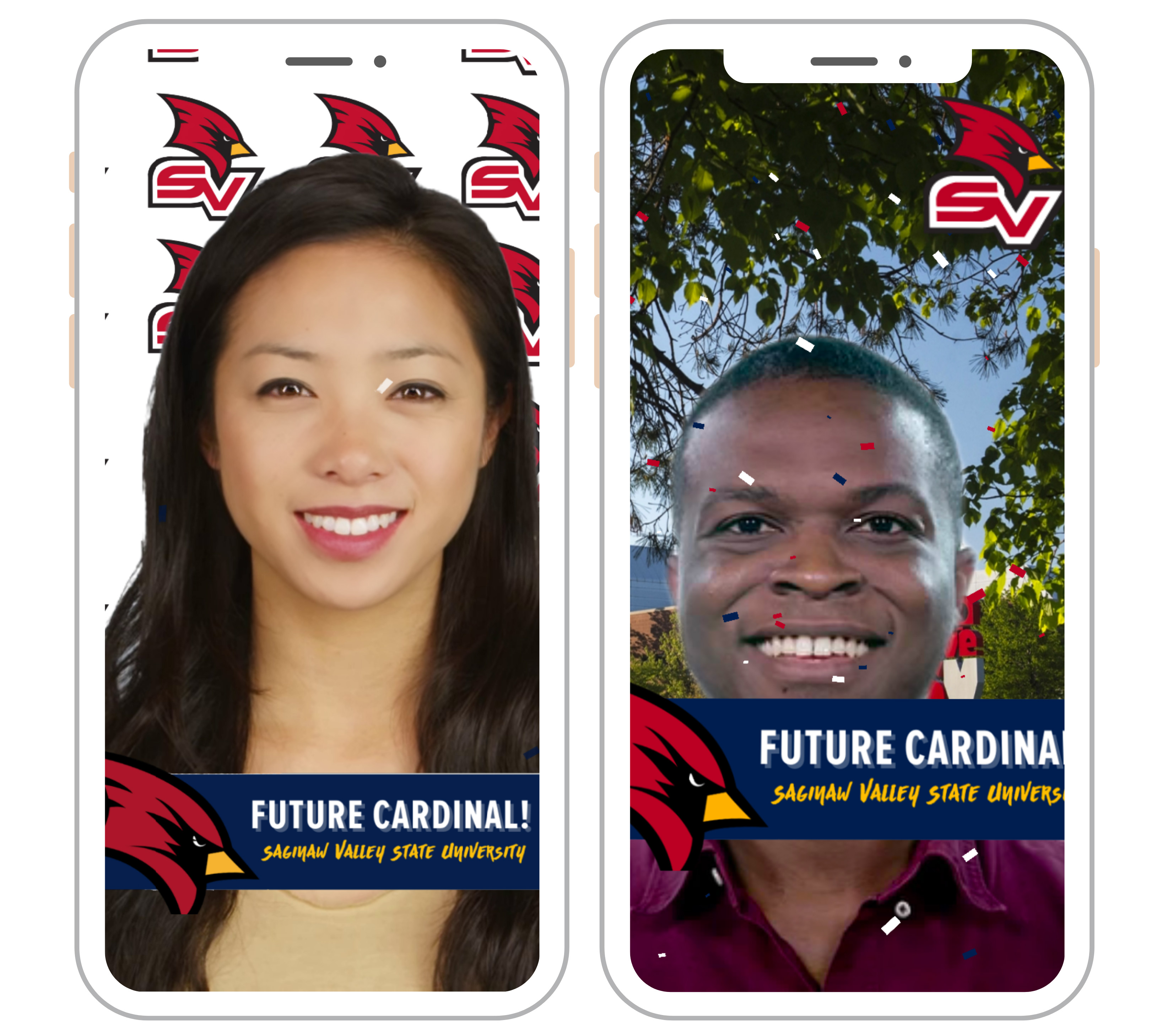 Student with confetti falling and words Future Cardinal depicting an animated SnapChat lens for Admitted SVSU students
