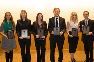 A photo of the winners and finalists is attached.  From left: SVSU students Natalie Currie, Melinda Dinninger, Megan Hillman, Austin Bauer, Jaeleen Davis, and Erik Breidinger.