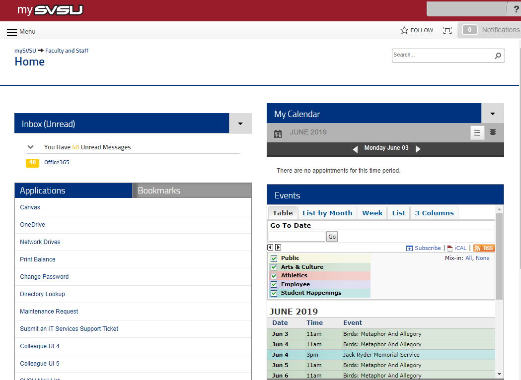 A screenshot of the mySVSU homepage.