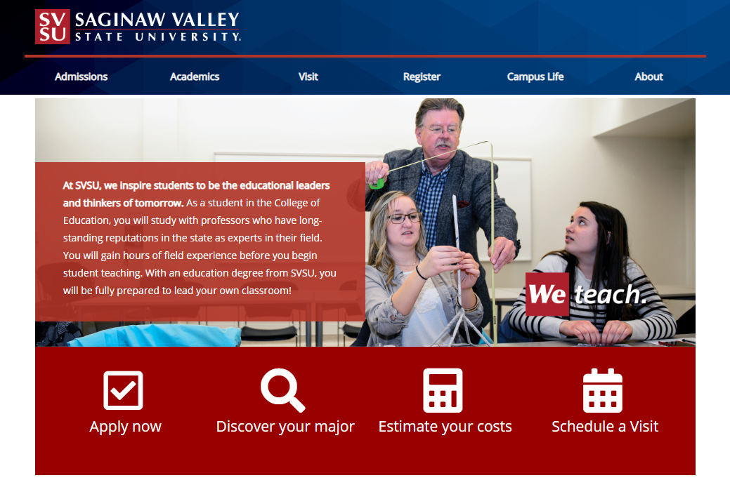 A screenshot of the SVSU homepage.