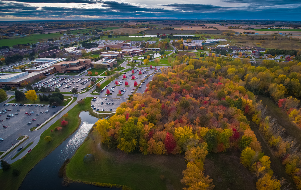 View from Drone of campus